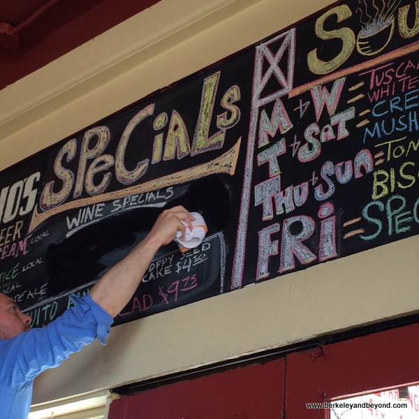 specials board at Mario's Bohemian Cigar Store Cafe in San Francisco