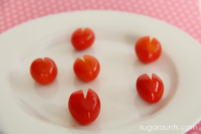 My kids love grape tomatoes! The perfect healthy Valentine's Day snack!