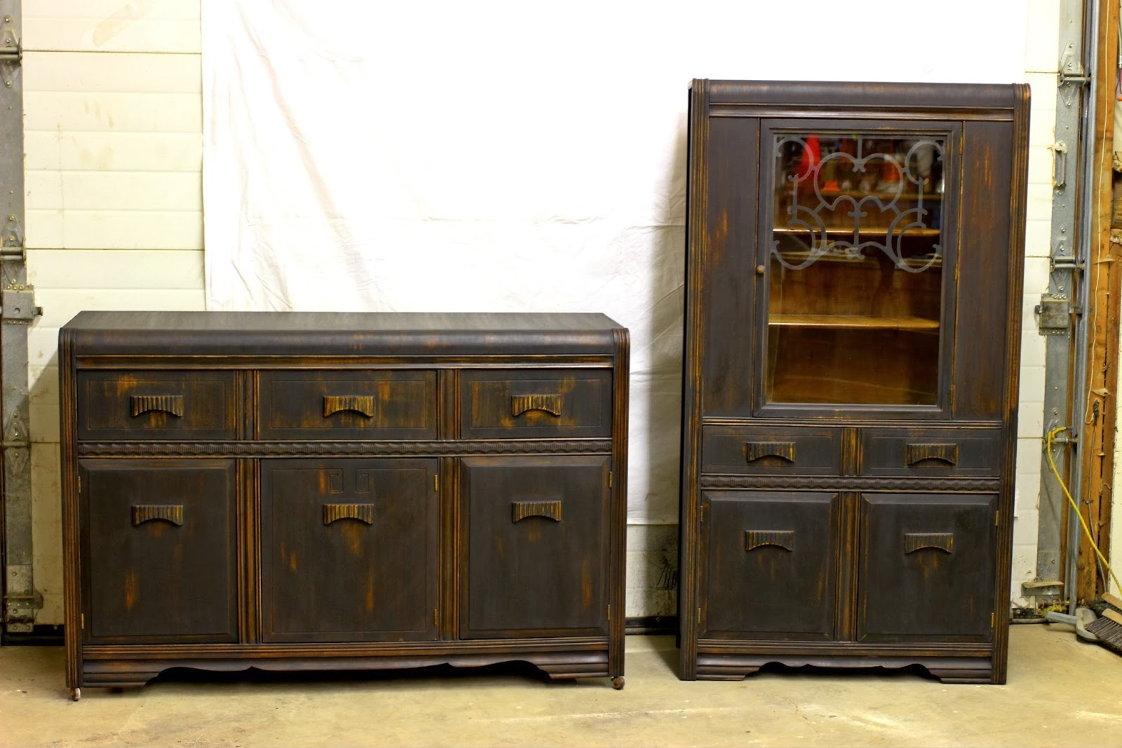 Laurel's Attic : Black Vintage Buffet and China Cabinet - SOLD