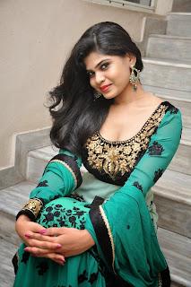 Actress Alekhya Pictures in Green Anarkali Long Length Salwar Kameez at Premisthe Poye Kaalam Audio Release Function  64.jpg