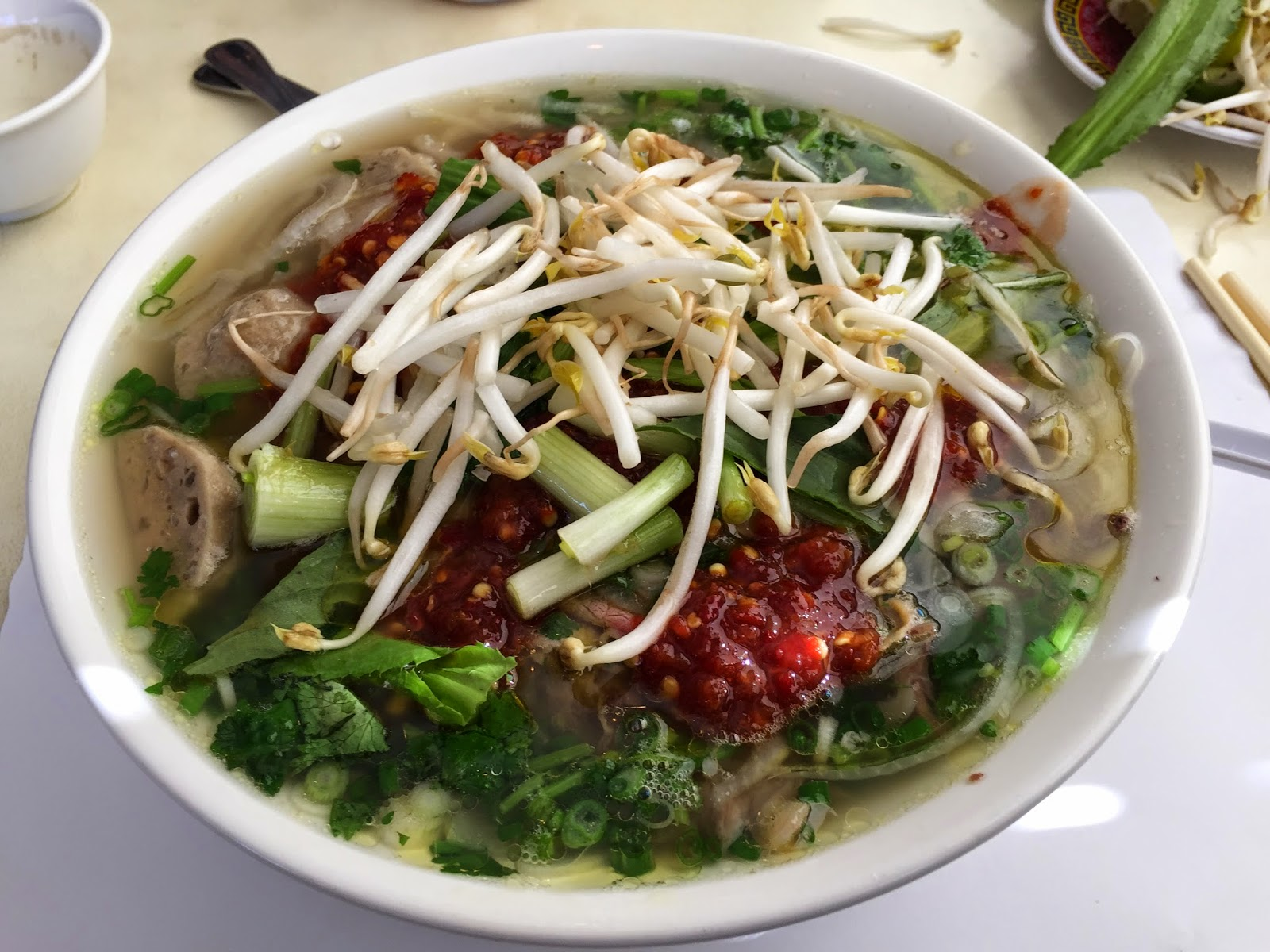 pho with bean sprouts and chili