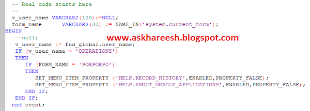 Form Customization: How to Hide an option from Help Menu using CUSTOM.pll, askhareesh blog for Oracle Apps
