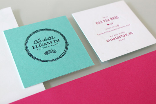 blue and pink square business cards