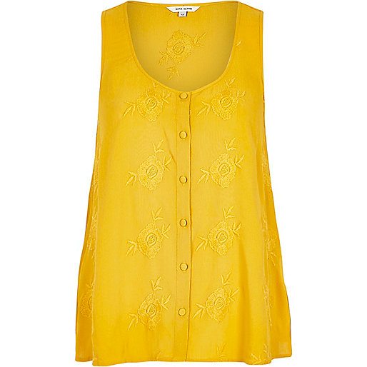 yellow embroidered vest, yellow button vest, mustard embroidered cami,