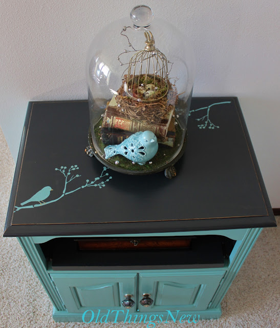 turquoise night stand     Old Things New