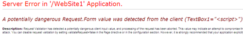 Potentially dengerous requestForm error