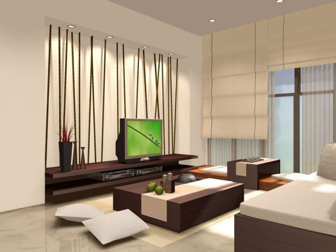 Design living room with japanese style home decors for Kitchen design zen type