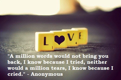 emotional sad love quote and saying by anonymous