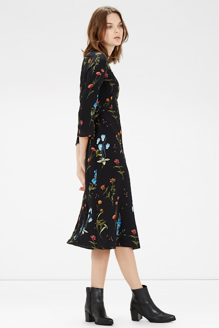 warehouse black flower print dress,