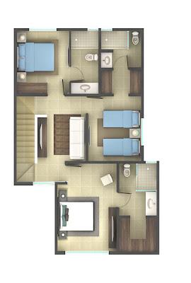 plantas arquitectonicas, planos de casas, planta alta, plano residencial