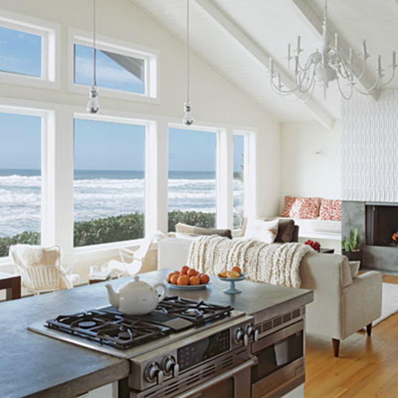 great kitchen and living room open space plan with spacious ocean