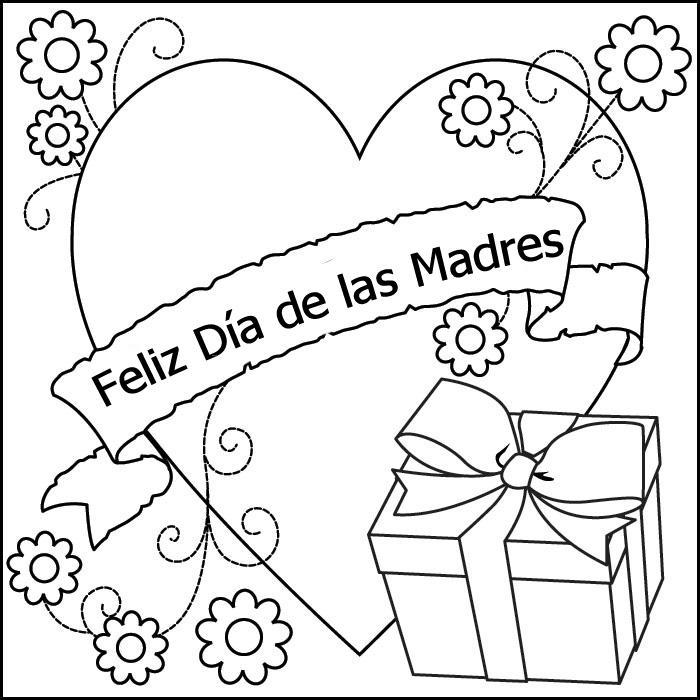 Dibujo del día de las madres para colorear - Corazón del día de las madres