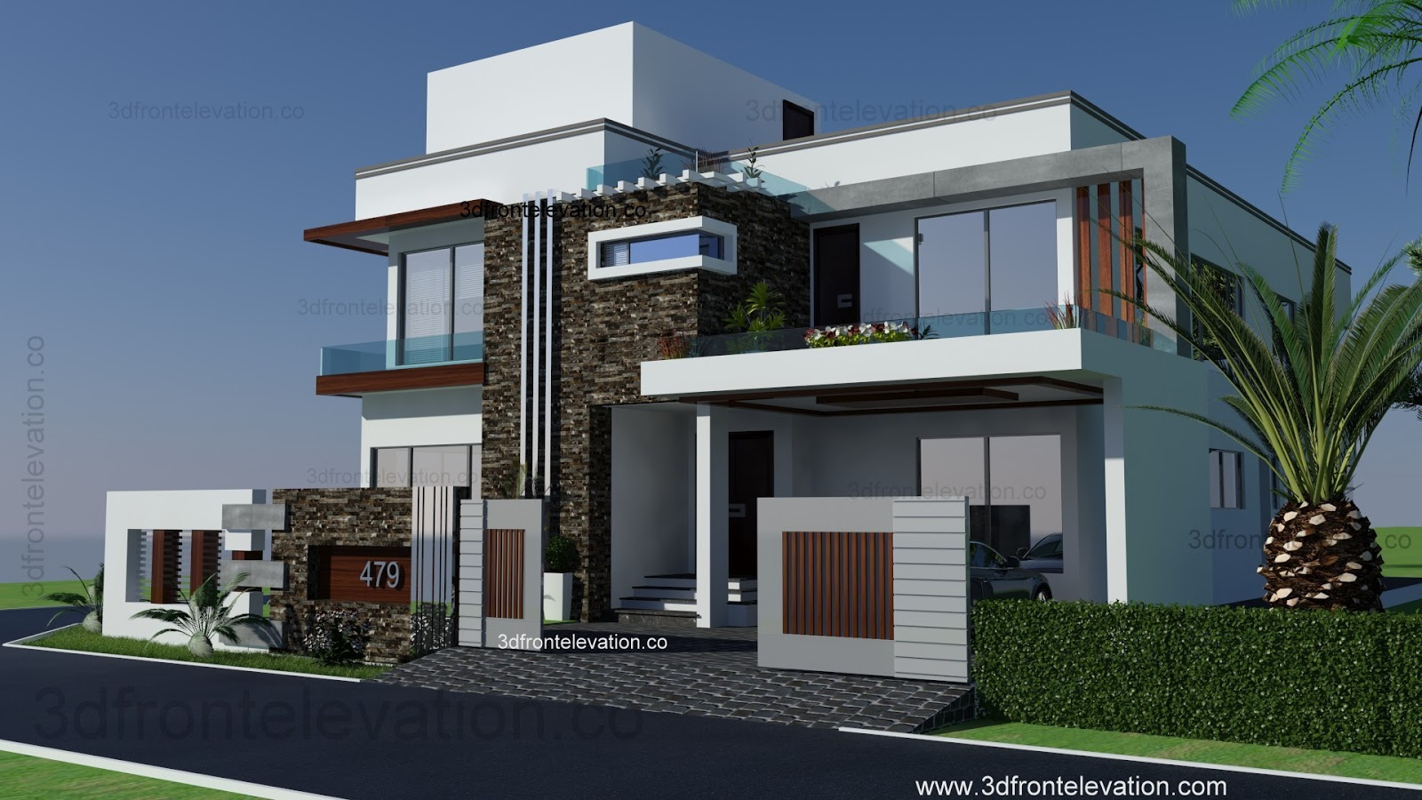 3d front 500 square yards house plan 3d for Home elevation front side