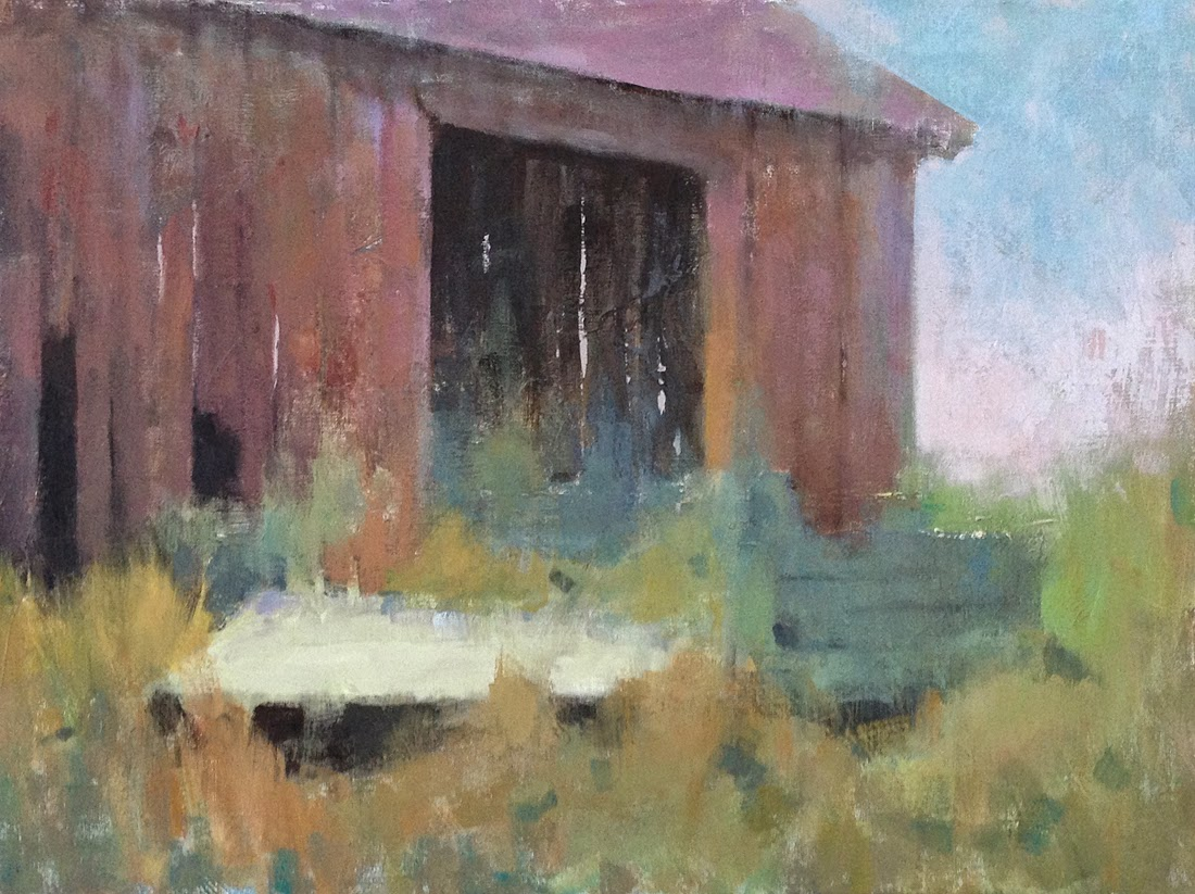 Impressionist landscape painting of an old New England barn and a broken-down wagon in the weeds.
