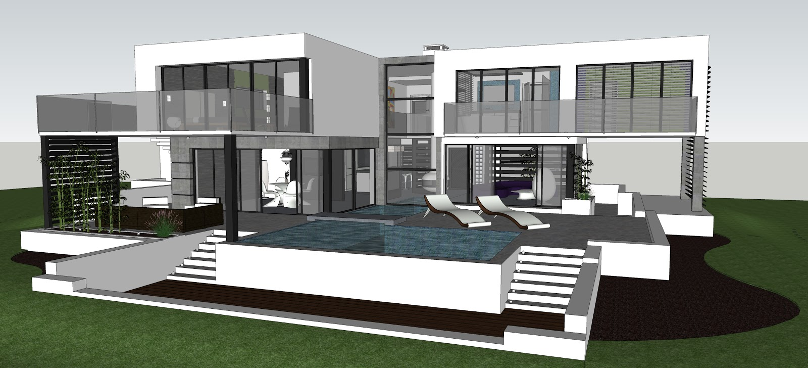House rendering day and night scene kyra illustration for Pool design sketchup