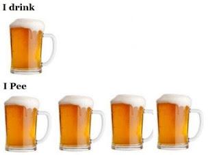 I drink, I pee