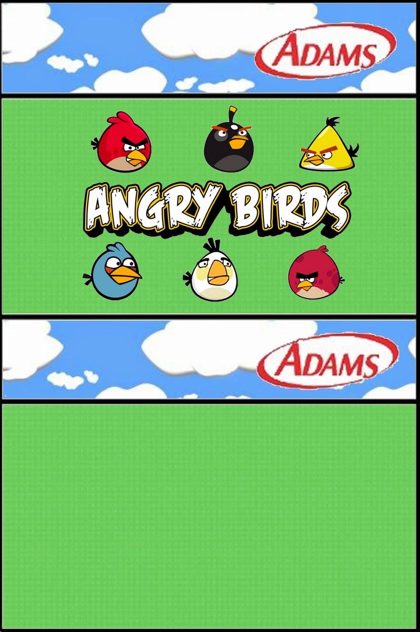 Etiquetas Adams de Angry birds con Nubes para imprimir gratis.