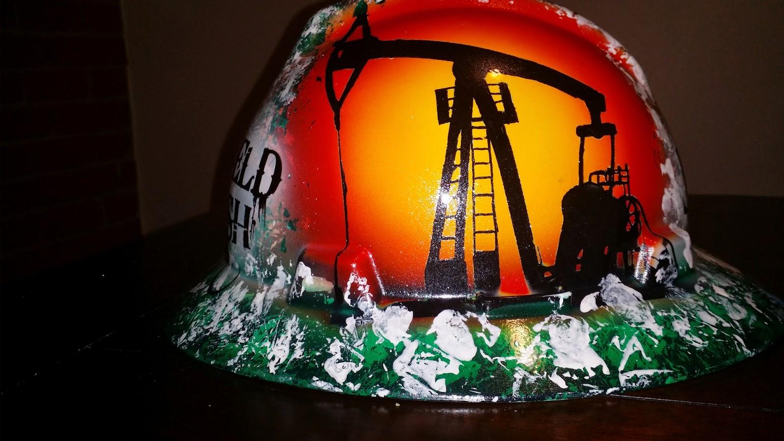 Green oilfield trash custom hard hat