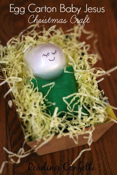 Egg carton baby jesus christmas craft reading confetti for Styrofoam egg carton crafts