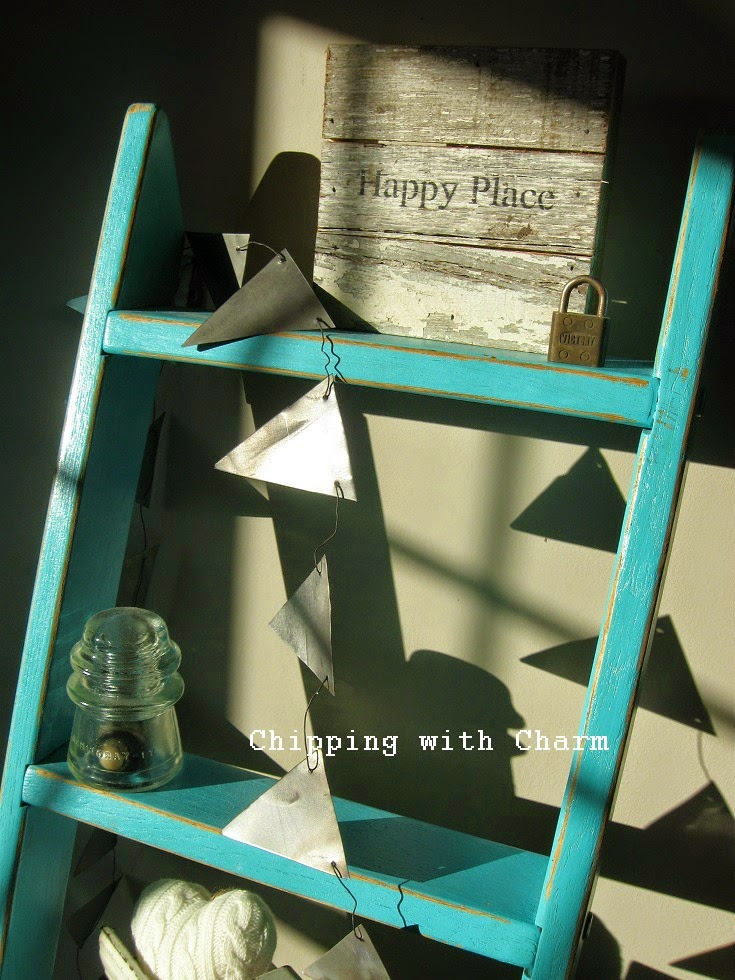 Chipping with Charm: Aqua Ladder Shelf...http://chippingwithcharm.blogspot.com/
