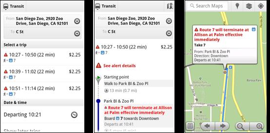 Google maps live transit updates