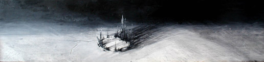 Painting, Siberia, Acrylic on found wood. 2013 Elizabeth Schuch, Blue moody landscape painting.