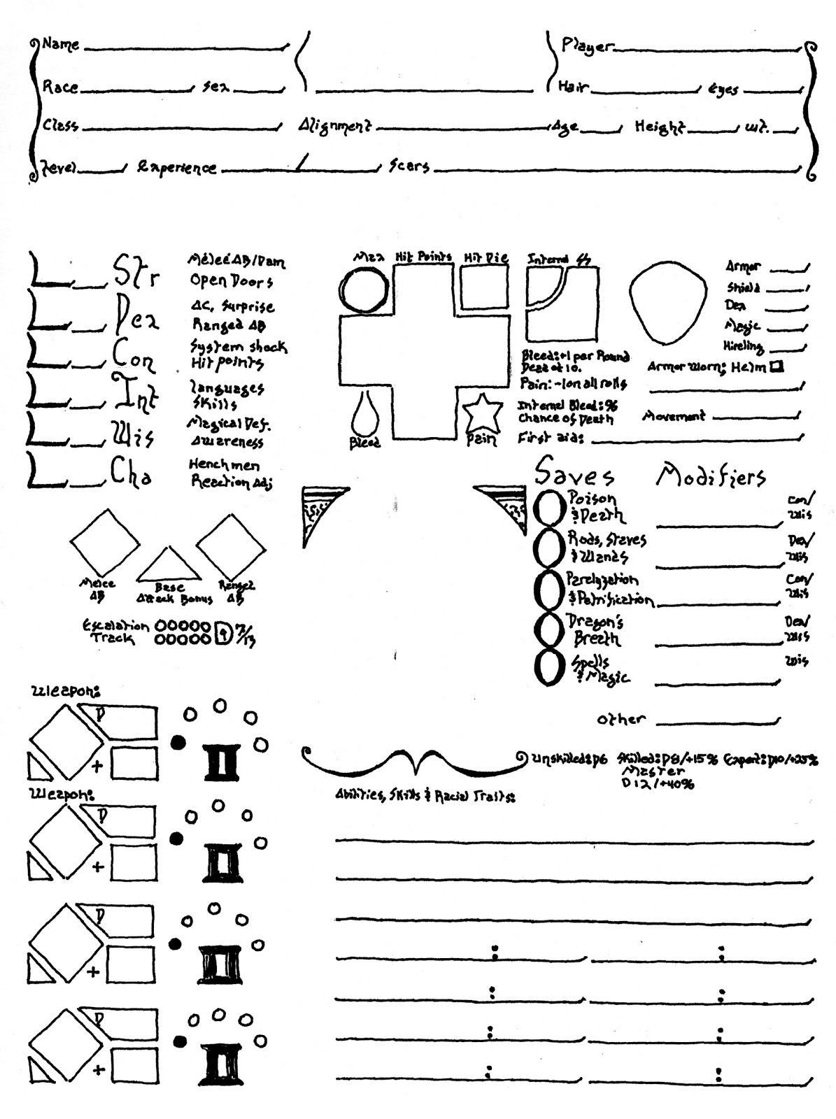 how to make a pathfinder character sheet
