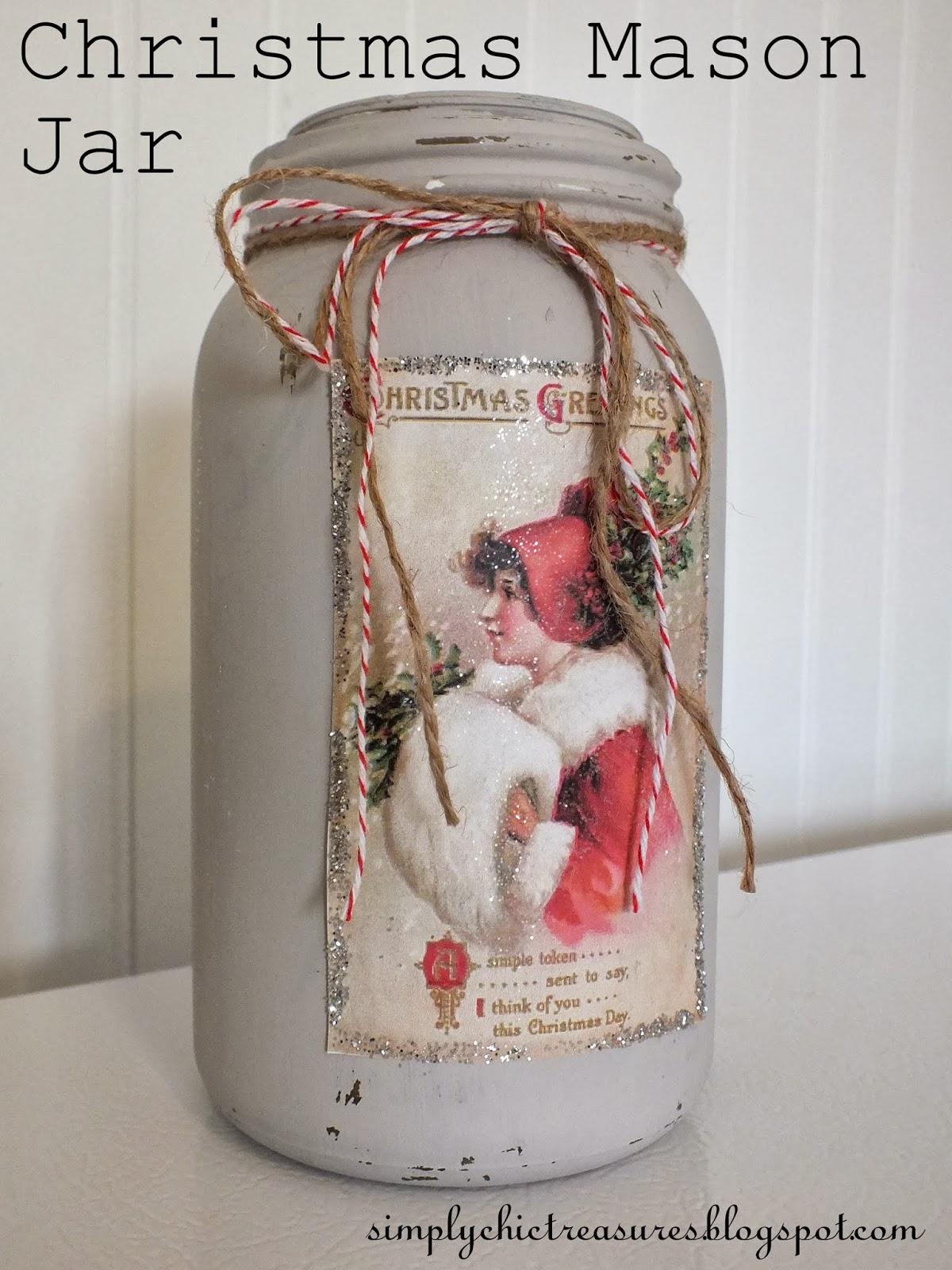 simply chic treasures christmas mason jar vase. Black Bedroom Furniture Sets. Home Design Ideas