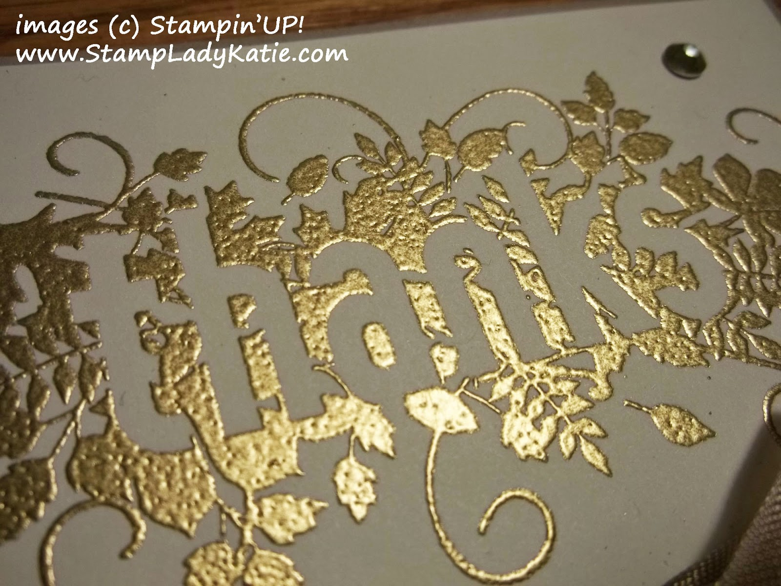 Gold embossed image from Stampin'UP!'s Seasonally Scattered stamp set.