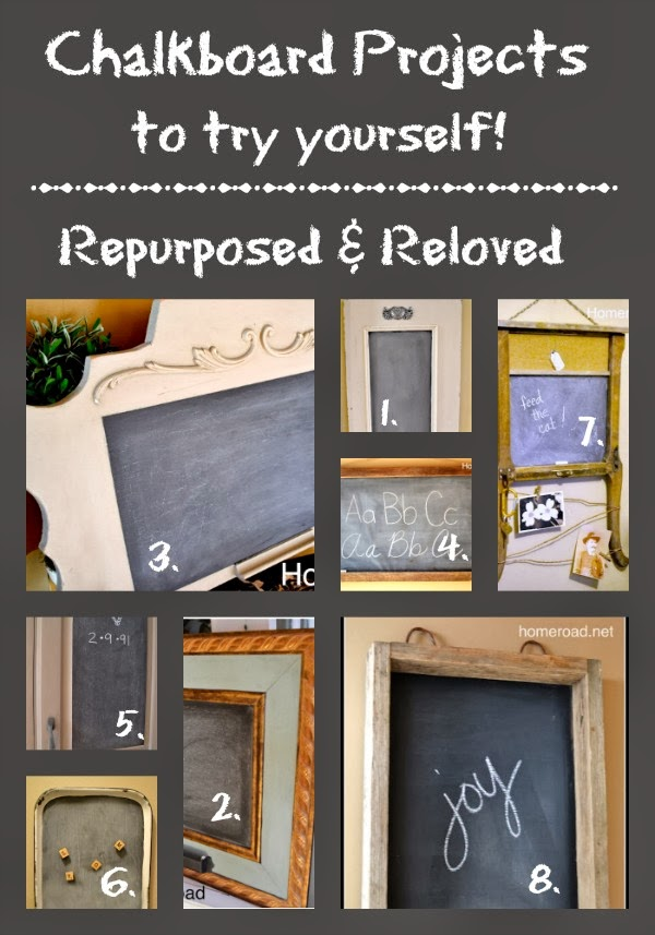 Repurposed chalkboard Roundup www.homeroad.net
