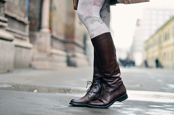 floral tights brown lace boots
