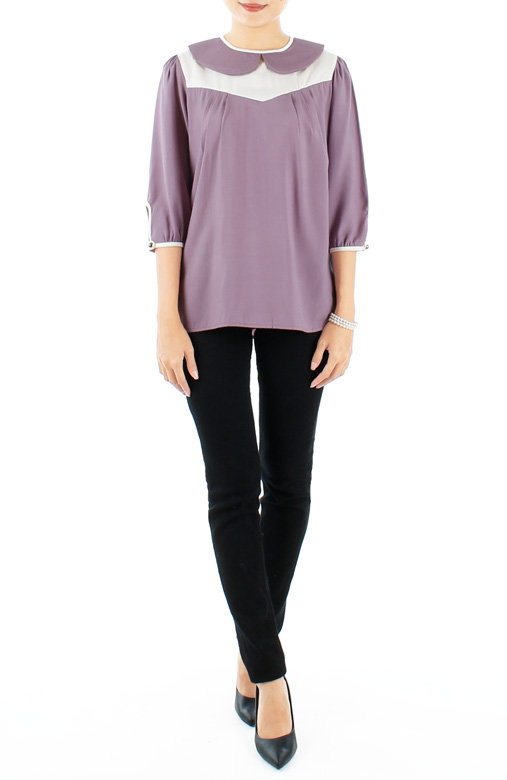 Lilac Darling Peter Pan Collar Blouse with Contrast Detailing