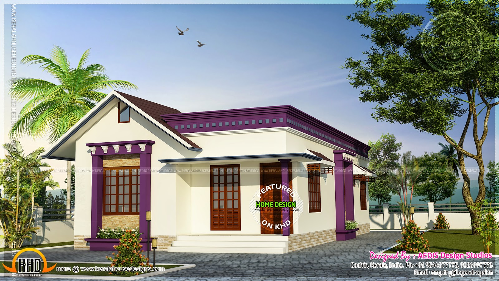Small sloping roof single floor home kerala home design for Small house design in kerala