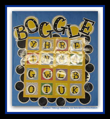 photo of: BOGGLE Bulletin Board in 2nd Grade Classroom (Rockin' Teaching Materials via RainbowsWithinReach)