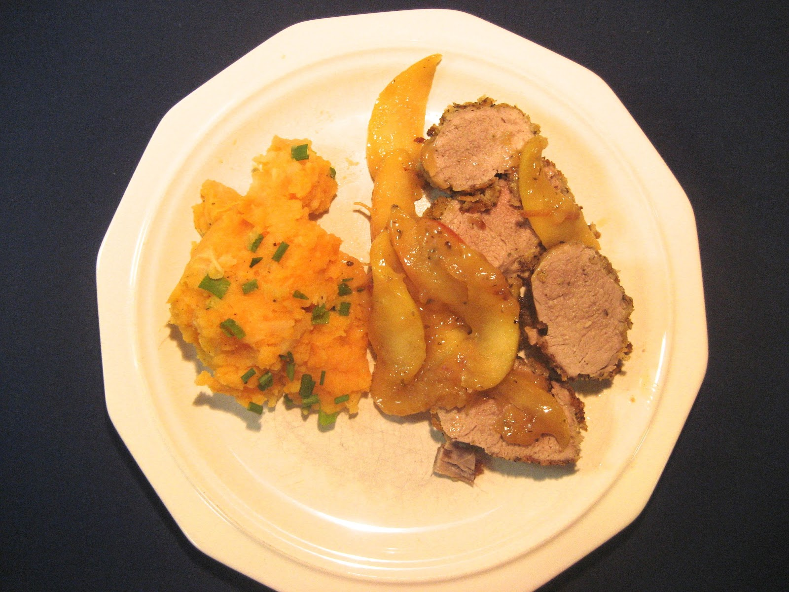 Sage-Crusted Pork Tenderloin with Apple-Thyme Compote