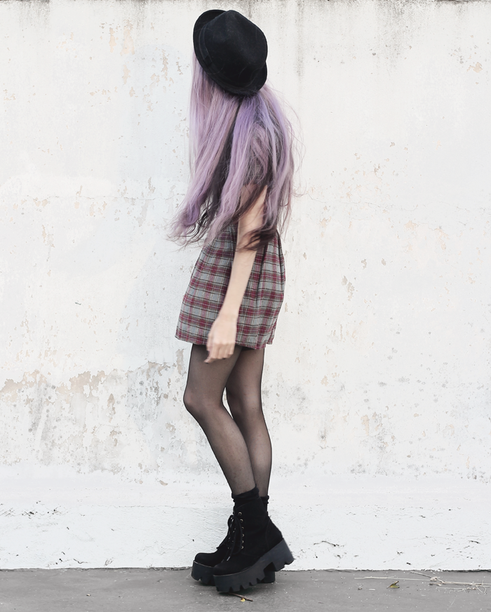 plaid-dress-violet-lilac-hair