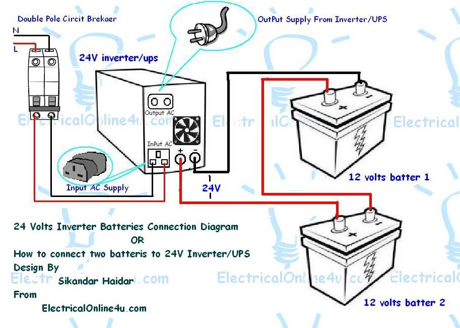 Battery and inverter wiring diagram auto electrical wiring diagram how to connect two batteries to inverter 24 volts ups 2 batteries rh electricalonline4u com rv battery wiring diagram rv inverter wiring diagram publicscrutiny Choice Image