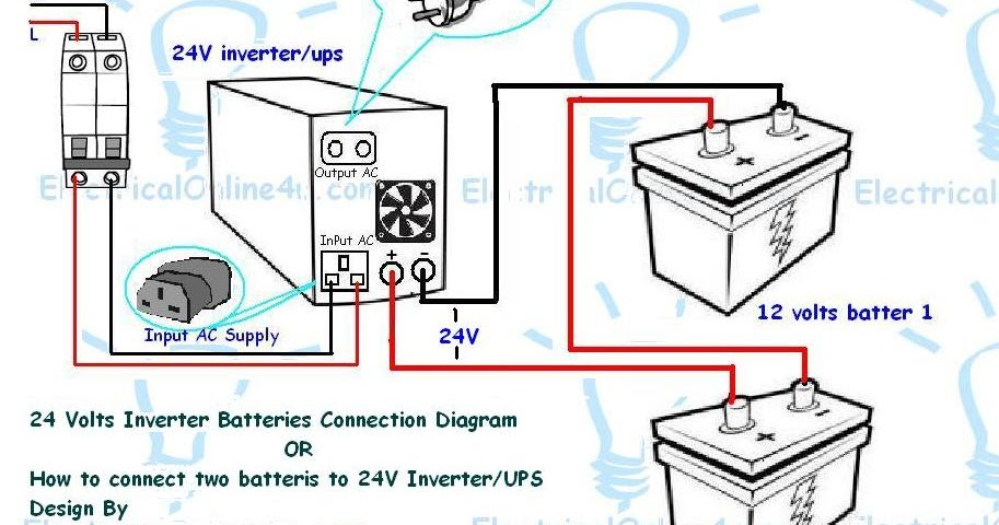 How To Connect Two Batteries To Inverter   24 Volts UPS 2 Batteries