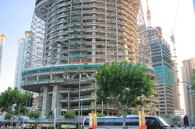 Shanghai tower under construction, base