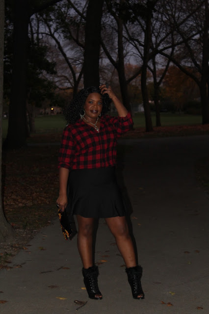 Styling-a-simple-red-and-black-flannel-made-girly-and-flirty-when-worn-with-a-flirty-black-skirt-vintage-silver-chain-necklace-and-fur-trimmed-open-toe-booties