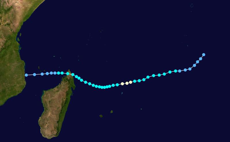 Trajectoire de la forte tempête tropicale Astride (saison cyclonique 1999-2000)