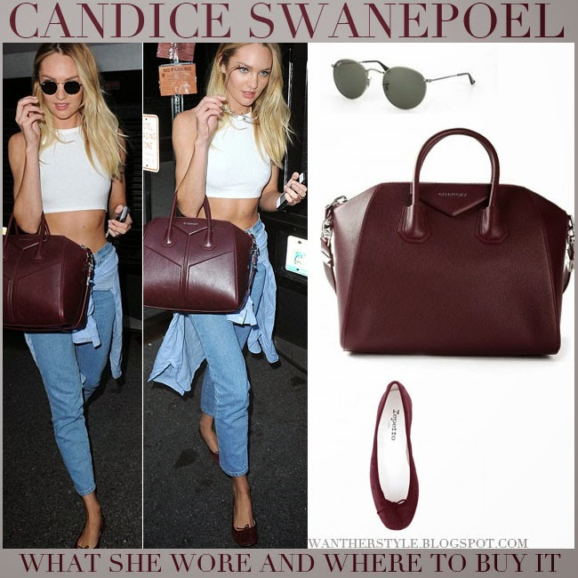 Candice Swanepoel in white crop top, blue jeans with burgundy leather tote givenchy antigona, burgundy suede flats repetto cendrillon with round sunglasses ray ban july 30 2014 want her style