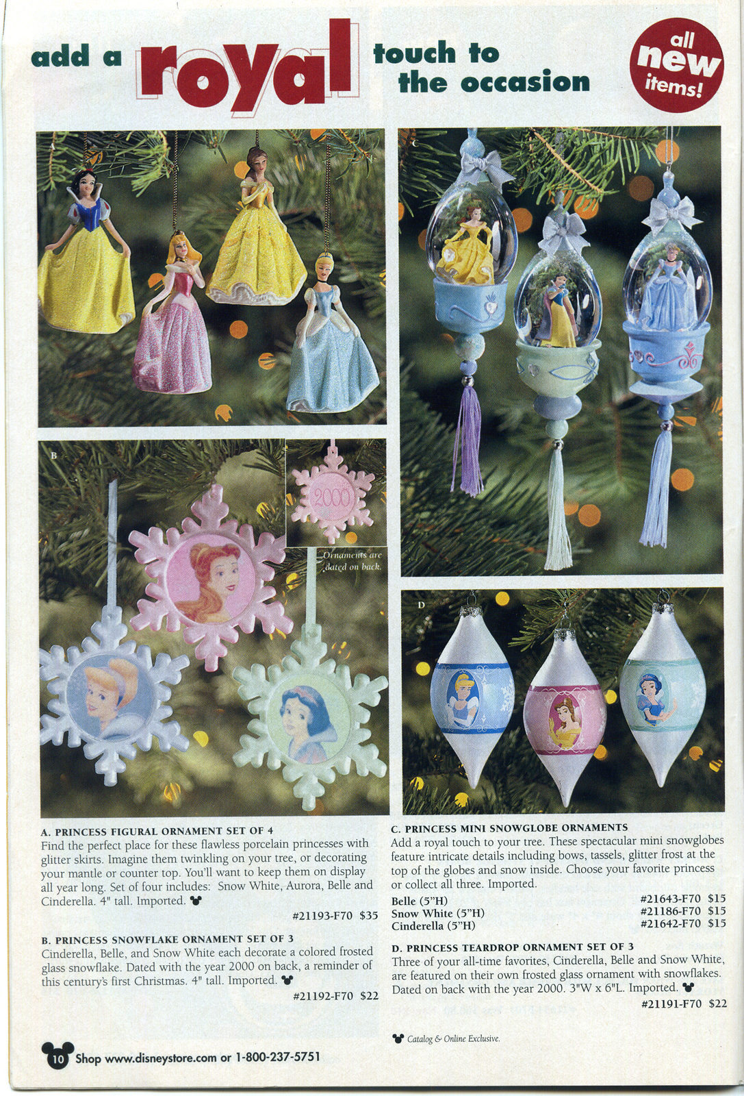 Disney ornament sets -  Different Sets Of Princess Ornaments Inside P 10 You Could Also Buy The Train Which Included Grumpy And Dopey Riding Up Front With Mickey And Snow