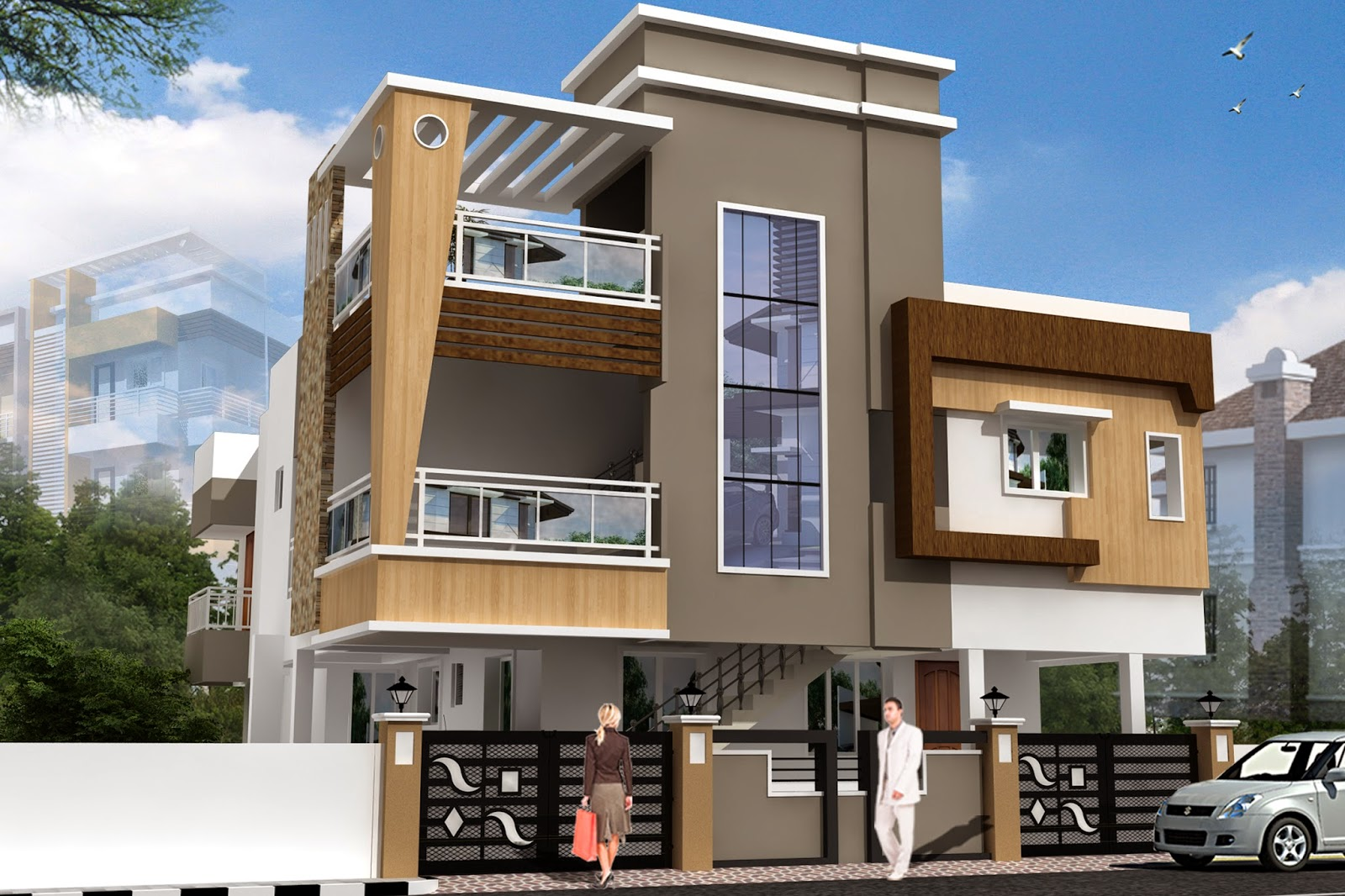 luckydesigners: 3D Elevation Residential Building