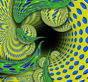 ilusiones opticas, movimiento, akiyoshi kitaoka, abismo, absorcion, absorción, el espacio absorbe, efectos visuales, ilusiones ópticas,