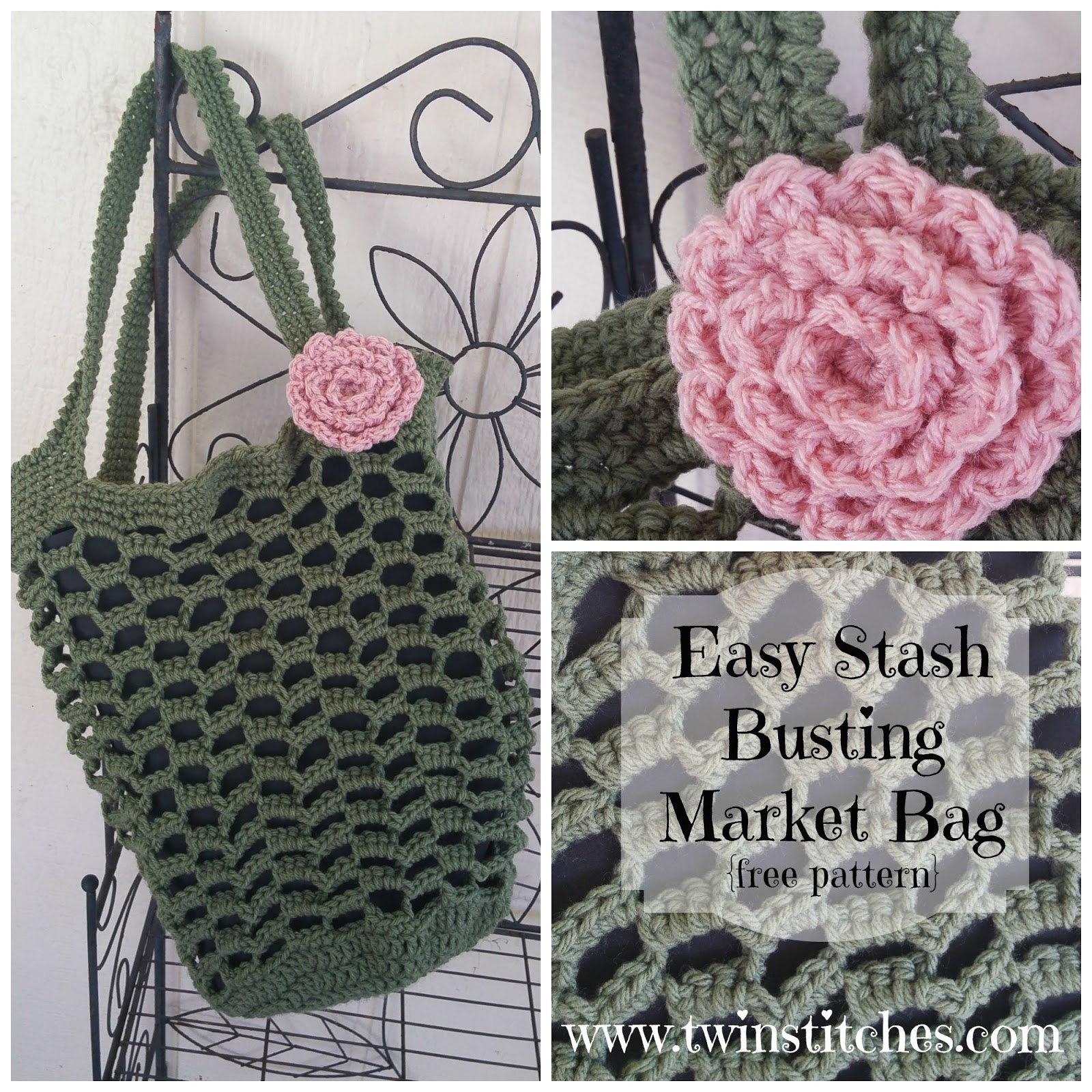 Tw-In Stitches: Easy Stashbusting Market Bag - Free Pattern | Tw-In ...