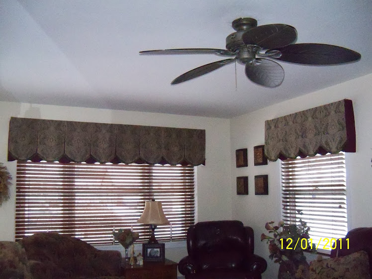 Board Mounted Valance and Wood Blinds