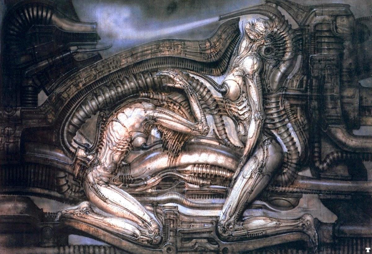 Los complejos horrores del placer y la delicada violencia del instinto dominan esta obra de H. R. Giger, Erotomecánica VII