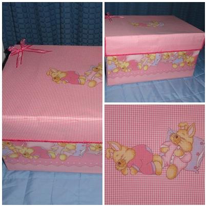Caja forrada en tela para el nacimiento del bebe recrear - Cajas de carton decoradas para bebes ...
