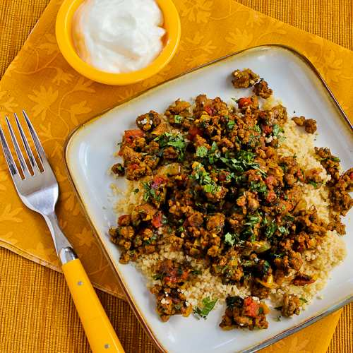 Middle Eastern Spicy Ground Beef with Baharat, Mint, and Cilantro